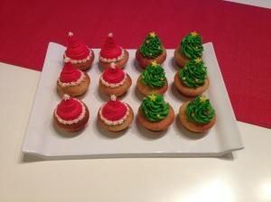 Cupcakes Sapin et Bonnet Pere Noel